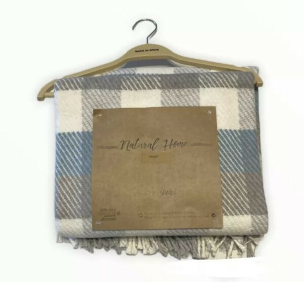 Natural Home Throw Blanket Made in Spain Cotton Blue Gray White Plaid 50x60 New $27.00