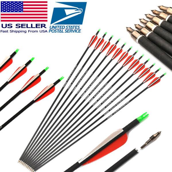 Carbon Arrow 30inches 12Pcs Spine 500 7.8mm for Compound amp; Hunting Recurve Bow $36.00