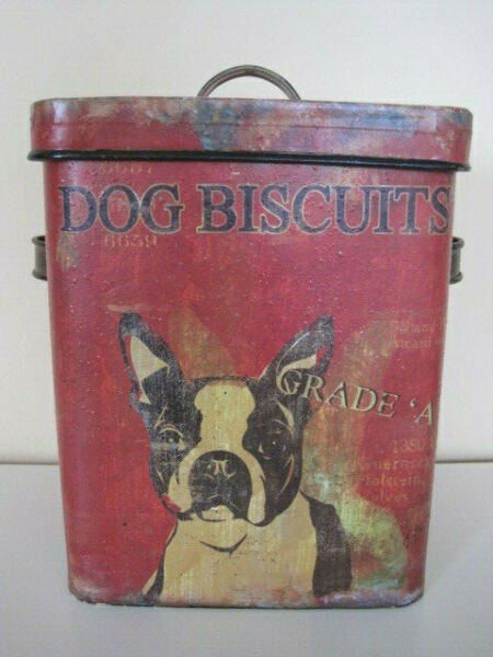 Vintage Style Metal DOG BISCUIT Treat Tin Container w Lid BOSTON TERRIER $27.50