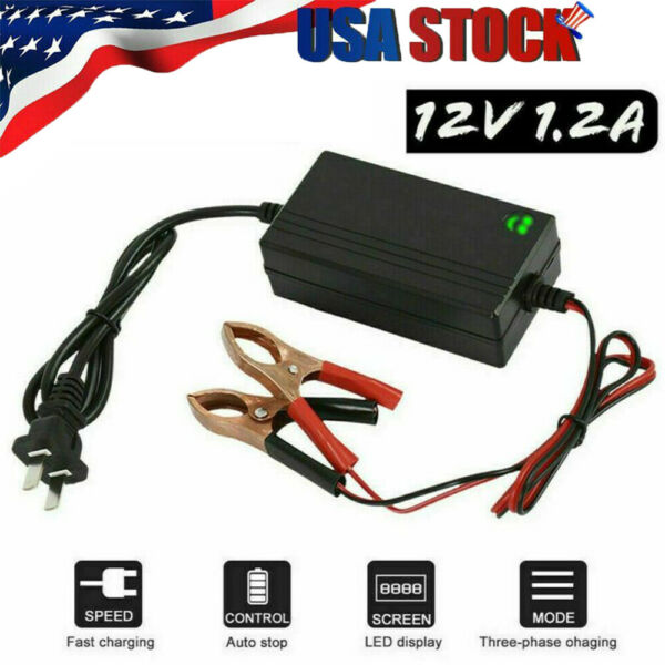 12V Portable Auto Car Battery Charger Trickle Maintainer Boat Motorcycle USA $7.49