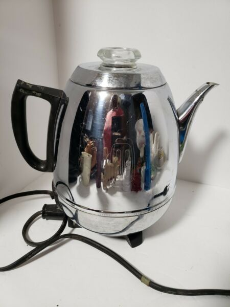 Vintage GENERAL ELECTRIC GE Coffee Percolator 18P40 POT BELLY 9 Cup .GREAT SHAPE
