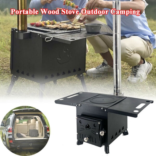 Outdoor Wood Stove Adjustable Air Vent Camping with Pipe For Vented Tent Cooking $139.30
