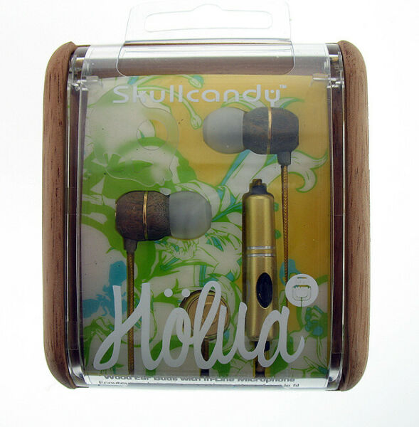 Rare Skullcandy Holua Wood In Ear Earbuds With Mic in Gold New $28.99