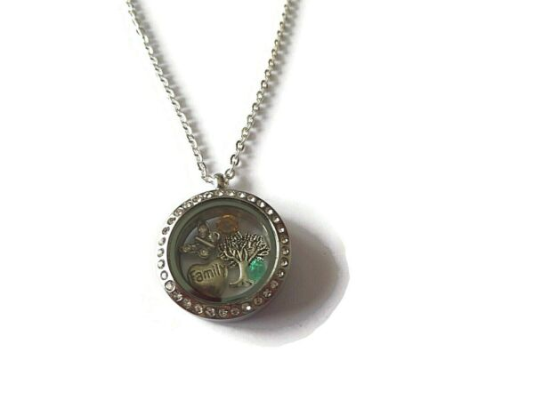 Family Tree necklace floating charm glass locket tree of life jewellery gift