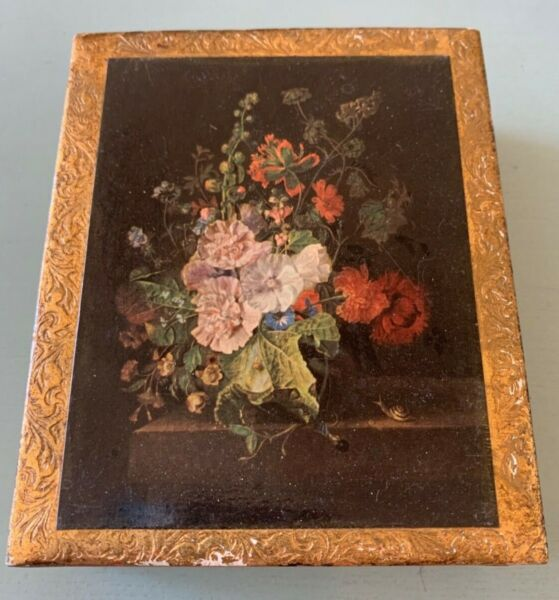 Vintage Wood Box MADE IN ITALY Hand Painted Gold Gilt with Flower Boquet on top