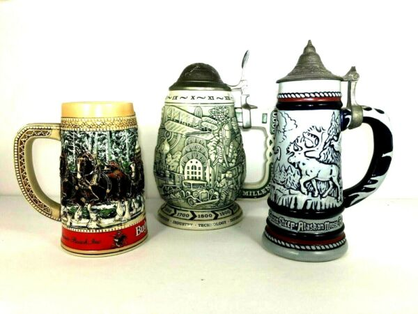 Antique Beer Stein lot of 3 FREE Shipping