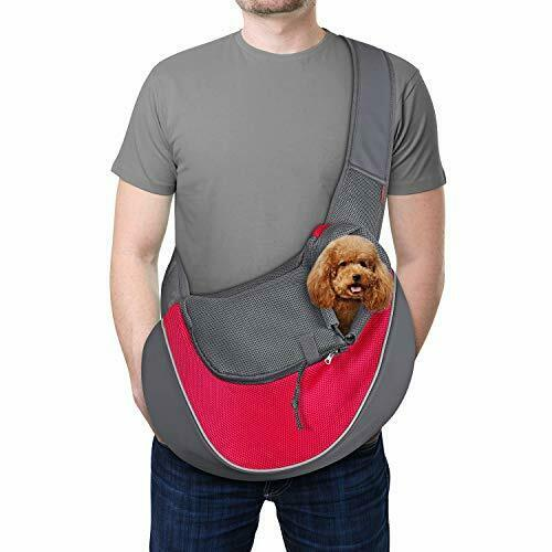 Pet Dog Sling Carrier Breathable Mesh Travel L Size refer to picture 2 Pink $47.97