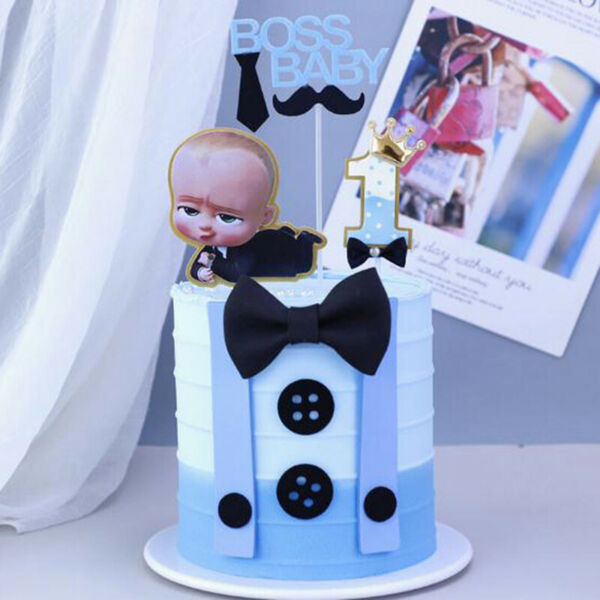 Boss baby Theme Party Tableware Birthday Baby Cupcake Cake flag TopperB C