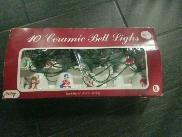 VINTAGE CHRISTMAS CERAMIC BELL LIGHTS 10 MADE IN TAIWAN RARE $24.95