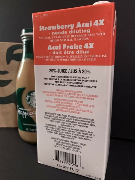 Starbucks Strawberry Acai 4X Base NEW FORMULA USED IN STORES Best By 02 22