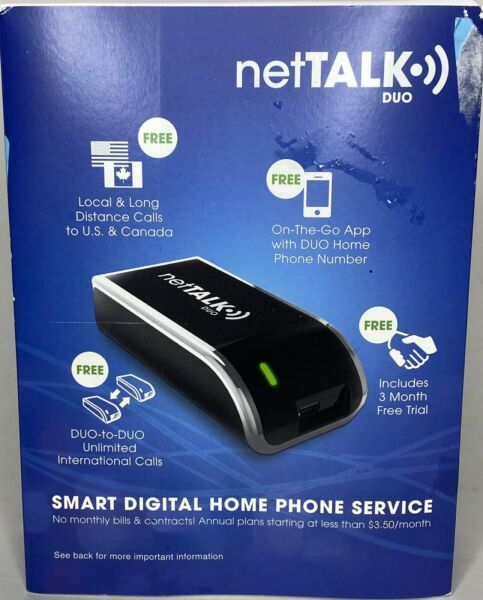 NetTalk Duo Home Phone Line VoIP Service Like Magic Jack 3 months FREE Service T $17.99