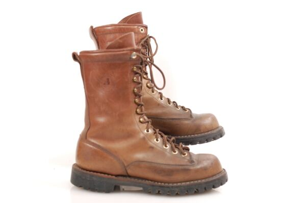 White#x27;s Hathorn Explorer 9.5 D Brown lace to toe Logger boots Good Condition
