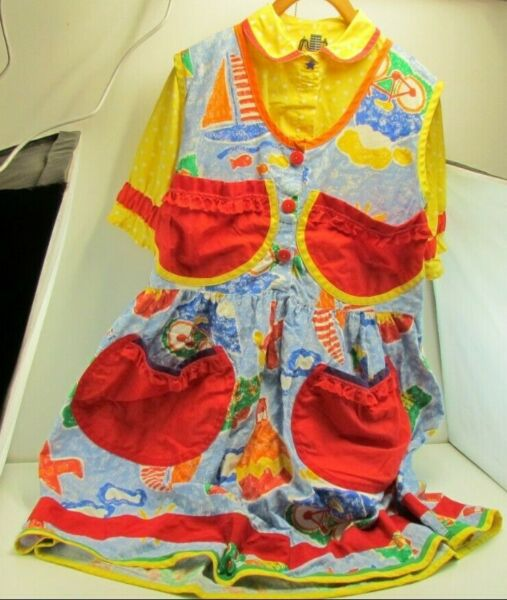 Vintage Handmade Women#x27;s Professional Clown Costume Large or X Large $19.95
