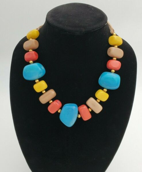 Chunky Tribal Tagua Nut Bead Statement Blue Yellow BOHO Coral Necklace Bohemian