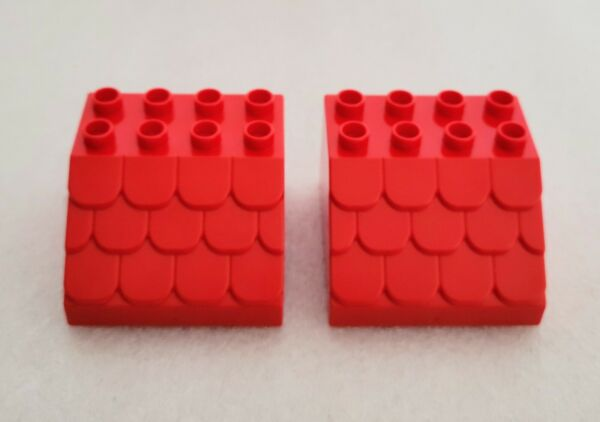 LEGO DUPLO Sloped Shingled Red Roof 4x4 Lot of Two 2 $11.95