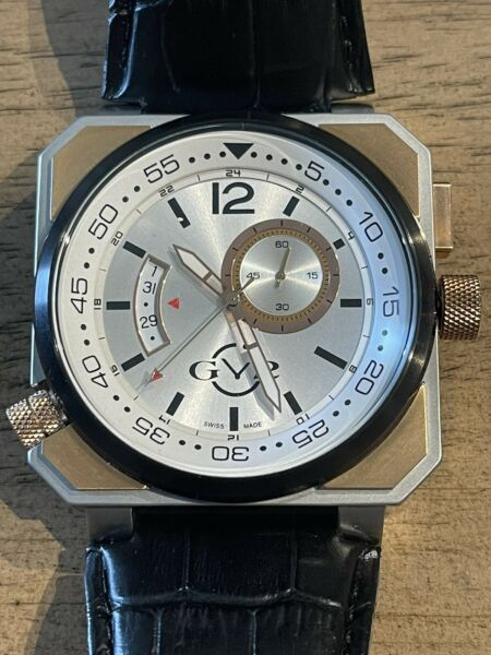 GV2 by Gevril 4522 XO Submarine Gold IP Lmtd Edition Steel Black Leather Date $400.00