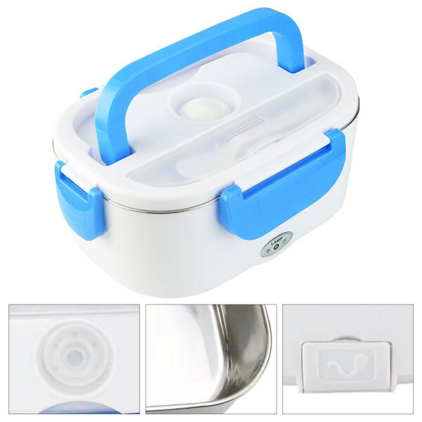 Electronic Heating Lunch Box Food Warmer Portable Travel Heater Container Blue $18.09