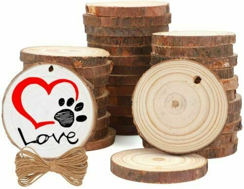2.0 2.4 inches Wood Slices 36PCs with hole Unfinished Wood for Natural Ornaments $13.99