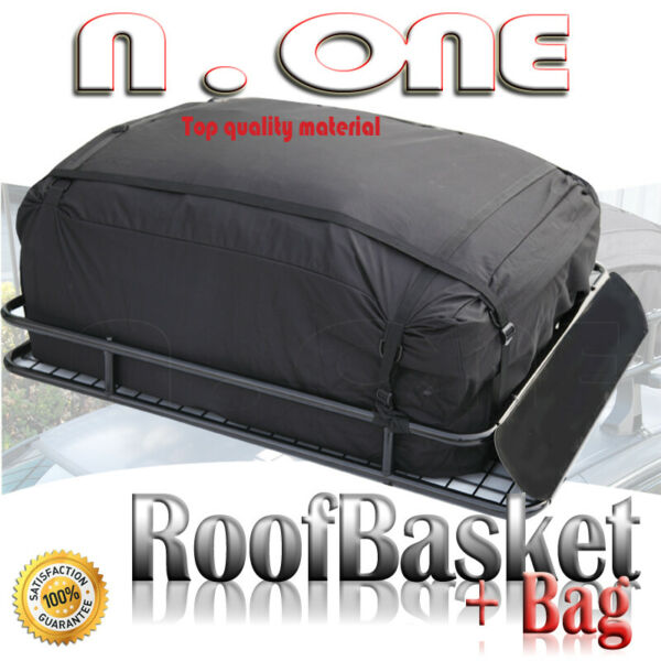Rooftop Rack Luggage Basket Cargo Carrier Storage w Bag Wind Fairing For $143.17