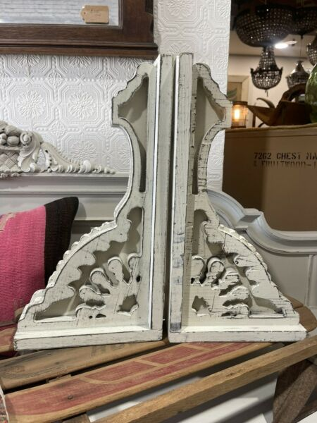 Chunky White Wooden Corbels Large Set Of Two Distressed $88.00