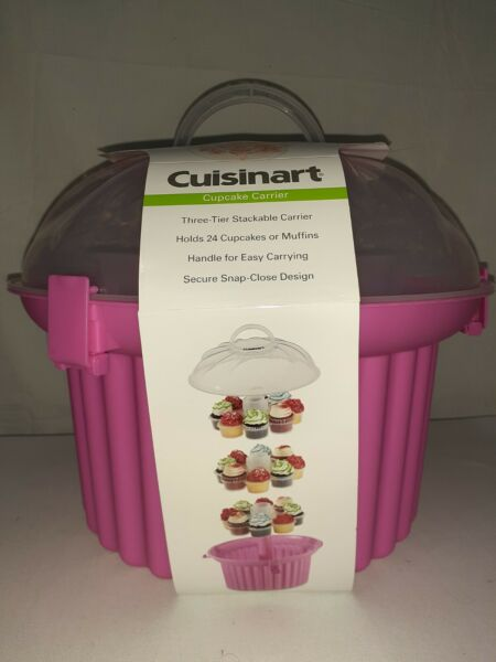 Cuisinart Pink Cupcake Shaped Cupcake Carrier 3 Stackable Tiers Holds 24 $24.99