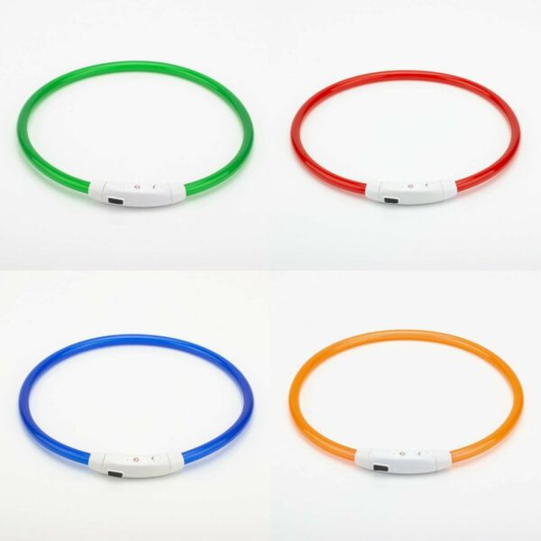 LED Dog Collar One Size USB Rechargeable Light Up Dog Collars Night Safety $7.99