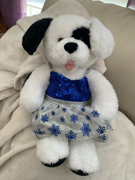 Build a Bear 17quot; Black and White Dog That Barks with Dress $12.00