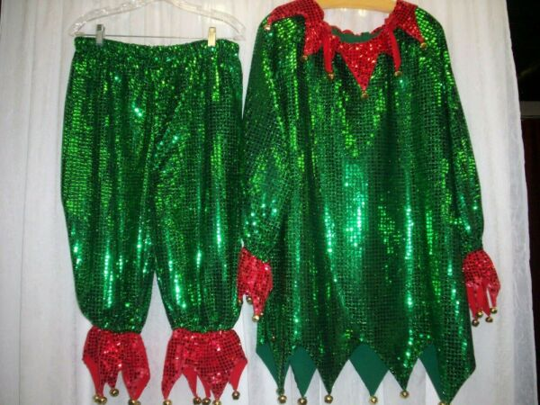 Red amp; Green Ladies Sequin Elf Costumes Tunic Pantaloons amp; Hat with Gold Bells