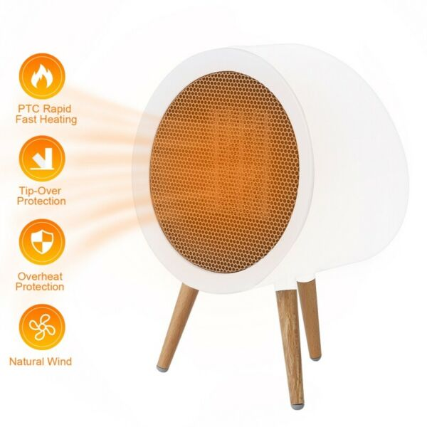 Portable Mini Ceramic Electric Heater Home Office Space Heating Fan Silent White $31.56