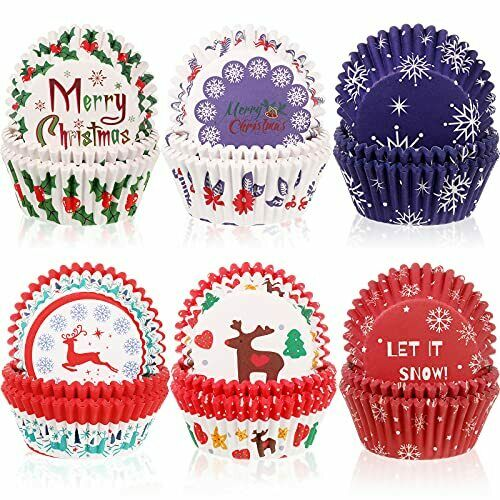600 Pieces Christmas Cupcake Liners Muffin Cups Colorful Paper Charming Series