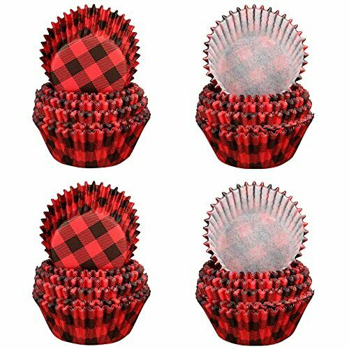 600 Pieces Red Black Buffalo Plaid Christmas Cupcake Liners Cupcake Wrappers