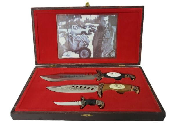 3 knife gift set in wood case fixed Blade made in china very nice looking