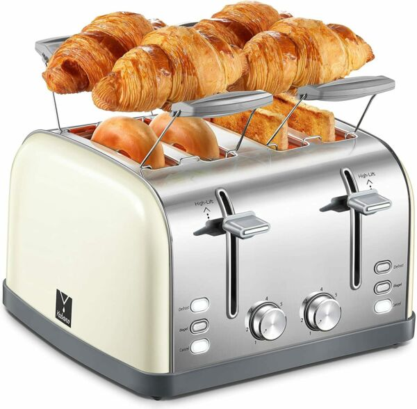 4 Slice ToasterStainless Steel Toaster4 Extra Wide SlotsRemovable Crumb Tray