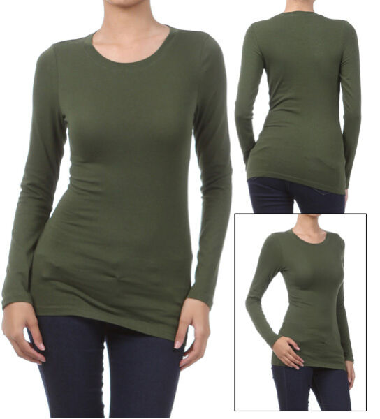 Basic Long Sleeve Solid Top Womens Plain Cotton T-Shirt Stretch Tight Crew Neck  $10.95