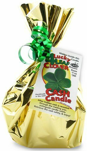 Four Leaf Clover Cash Candle - Money Candle with REAL money inside! From $1-$50!