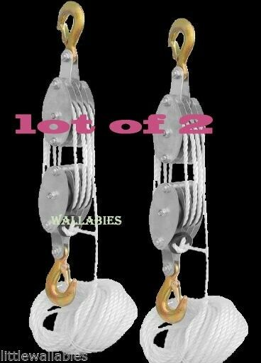 LOT 2 4000LB 2 Ton 65FT Poly Rope Hoist Pulley Block And Tackle Rope 7:1 Lifting