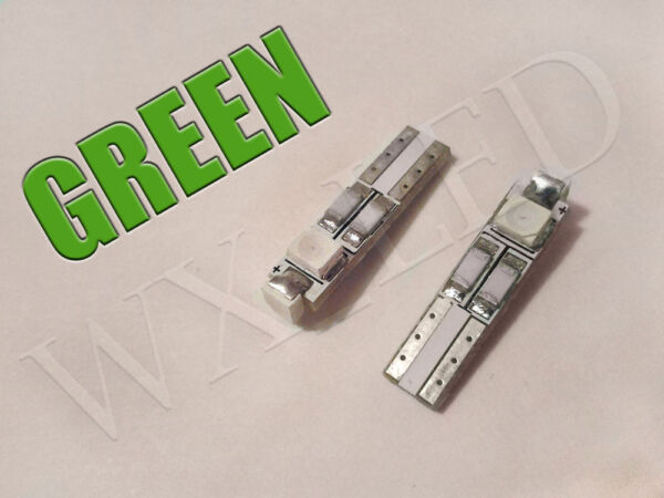 2x T5 3 SMD 1210 LED Gauge Cluster Key Ring Sunvisor Shifter Led Bulb Green**