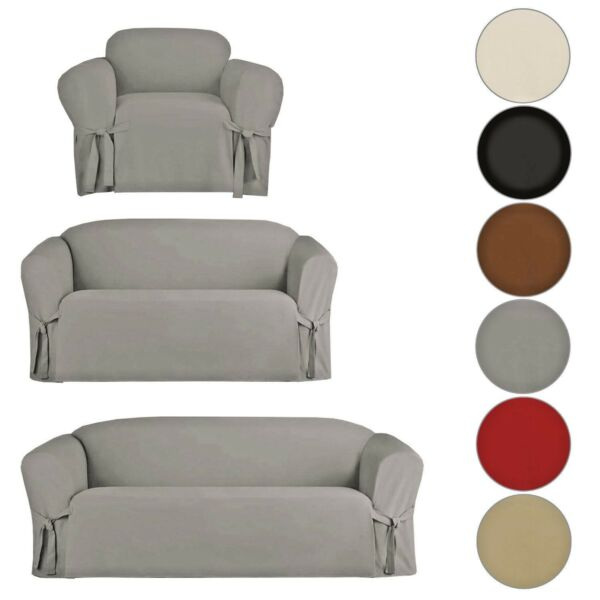 SLIPCOVER SOFA LOVESEAT CHAIR FURNITURE COVER BROWN BLACK TAUPE MICRO SUEDE $34.99