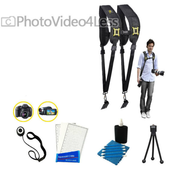 Dual Shoulder Camera/ Camcorder Neck Strap With Quick Release Canon Nikon + Kit