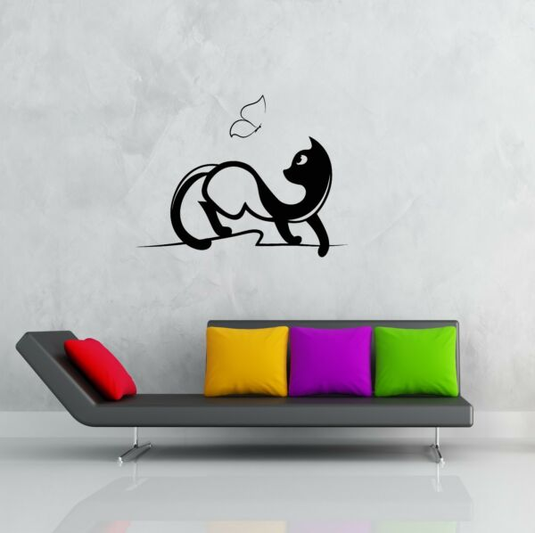 Wall Stickers Vinyl Decal Cat And Butterfly for Bedroom  z1227