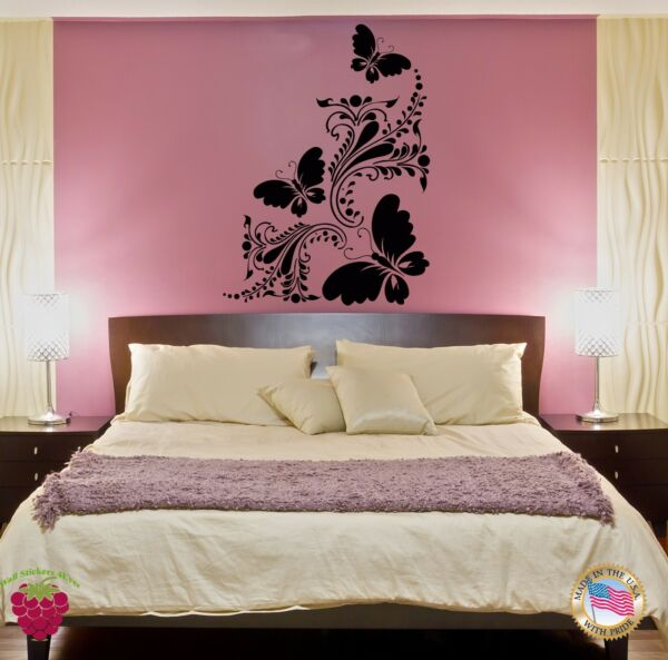 Wall Sticker Decor for Bedroom Butterfly Flower Floral Decor  z1416
