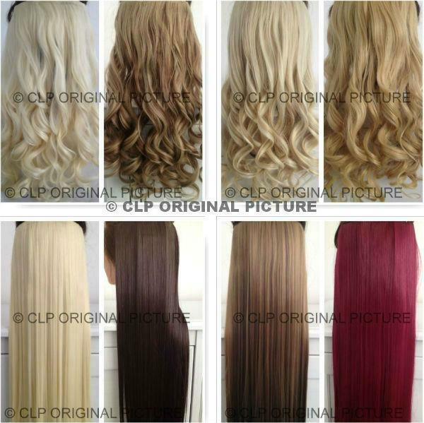 UK SELLER Clip in Hair Extension 1pc Synthetic Thick Half Head Natural Look Hair
