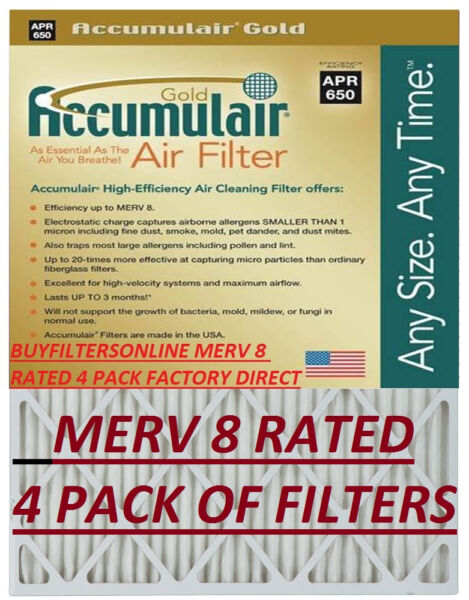 4 AVG SIZE ACCUMULAIR GOLD MERV 8 HOME FURNACE AIR FILTERS PLEATED ALLERGEN