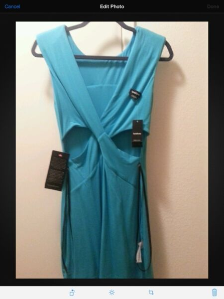 BEBE BLUE REVERSIBLE V NECK CUT OUT SEXY DRESS Sz SMALL NO LONGER SOLD IN STORES