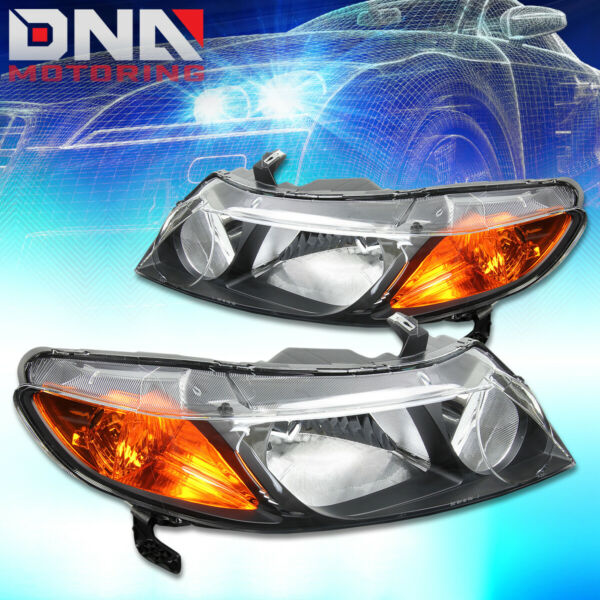FOR HONDA CIVIC 2006 2011 4DR SEDAN BLACK HOUSING AMBER HEADLIGHTS CORNER LAMP