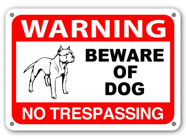 Beware of Dog Sign No Trespassing Guard Dog on Duty Sign Dogs Will Bite Attack $6.49