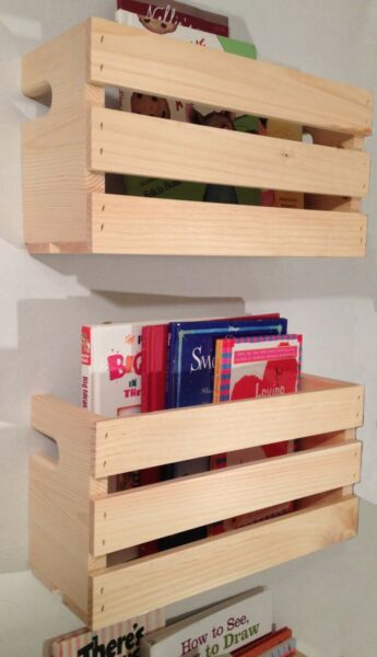 2 Med Crate Style Book Shelves Shelf Kids Rustic Crates Wall Mount Pinterest