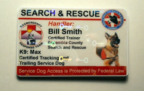 HOLOGRAPHIC SEARCH AND RESCUE SERVICE DOG ID BADGE CUSTOM CARD WORKING DOG 25 $26.95