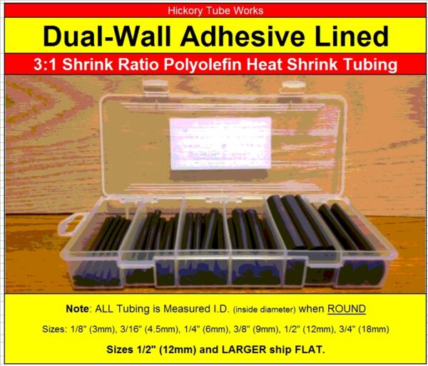 Dual Wall 3:1 Adhesive Lined Heat Shrink Tubing 3 4quot; 1 2quot; 3 8quot; 1 4quot; 3 16quot; 1 8quot; $18.99