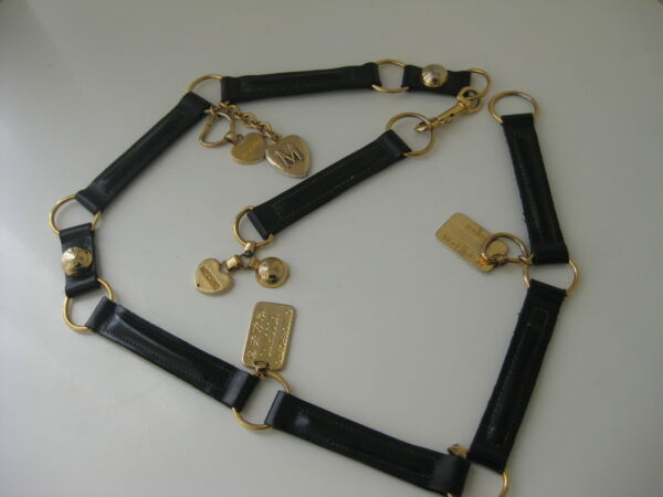 Vintage MOSCHINO Belt by REDWALL with Charms amp; Leather Links Runway RARE $199.00